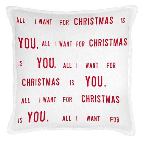 "26"" Sq Face To Face Euro Pillow - All I Want For Christmas"