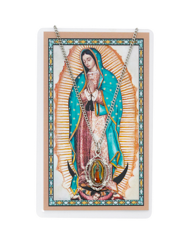 "Our Lady of Guadalupe - Medal with 18"" Chain and Laminated Holy Card Set"