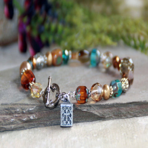 Multi-Colored Crystals and Glass Prayer Box Bracelet