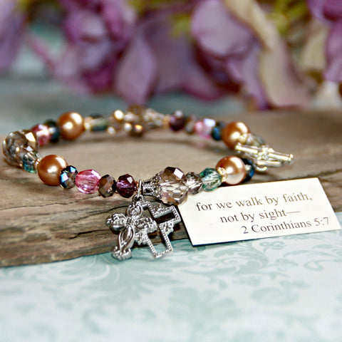 For we Walk by Faith, Not by Sight- Beautiful Inspirational Bracelet