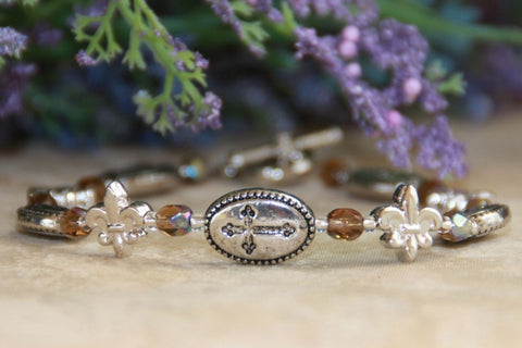 Cross and Fleur de Lis Bracelet
