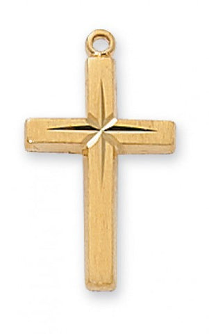 "Cross in Gold Over Sterling Silver w/ 18"" Gold Plated Chain"