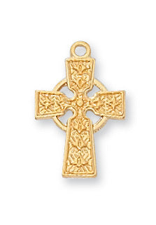 "Cross in Gold Over Sterling Silver w/ 16"" Gold Plated Chain"