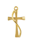 "Cross in Gold Over Sterling Silver w/ 18"" Rhodium Plated Chain"