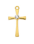 "Cross in Gold Over Sterling Silver w/ Crystal Stone and 16"" Rhodium Plated Chain"