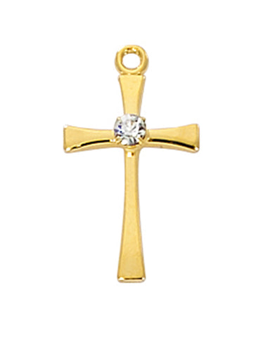 "Cross in Gold Over Sterling Silver w/ Crystal Stone and 18"" Rhodium Plated Chain"