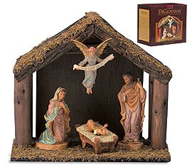 "20""H Figurine - Nativity Set With Wood Stable - 4 Pieces Per Set"