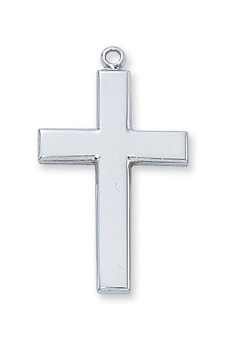 "Cross in Sterling Silver w/ 20"" Rhodium Plated Chain"