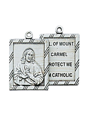"2 Piece Our Lady of Mount Carmel Scapular Medal with 18"" Chain"