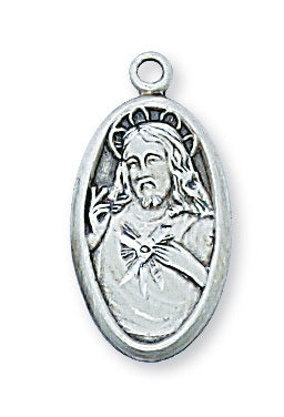 "Sterling Silver Sacred Heart of Jesus Scapular Medal with 18"" Chain"