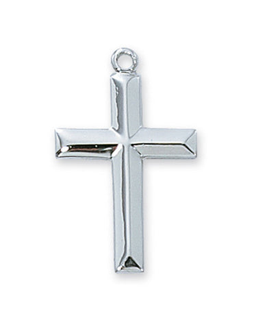 "Cross in Sterling Silver w/ 18"" Rhodium Plated Chain"