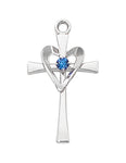 "Heart Cross in Sterling Silver w/ Blue Glass Stone and 18"" Rhodium Plated Chain"