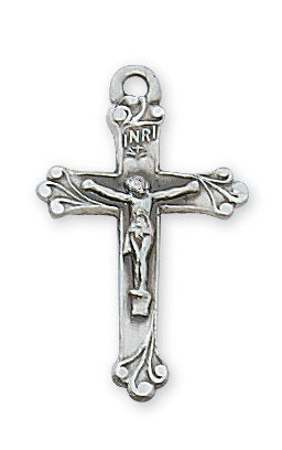 "Sterling Silver Antique Finish Crucifix Pendant with 18"" Chain in a Deluxe White Leatherette Gift Box"