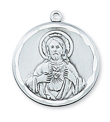 "Sterling Silver Sacred Heart of Jesus Scapular Medal with 24"" Rhodium Plated Chain"