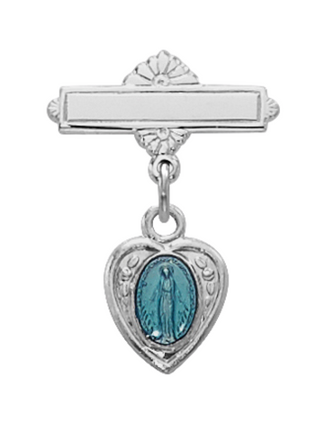 Heart-Shaped  Sterling Silver Bar Pin with Blue Miraculous Image in a Clear Gift Box