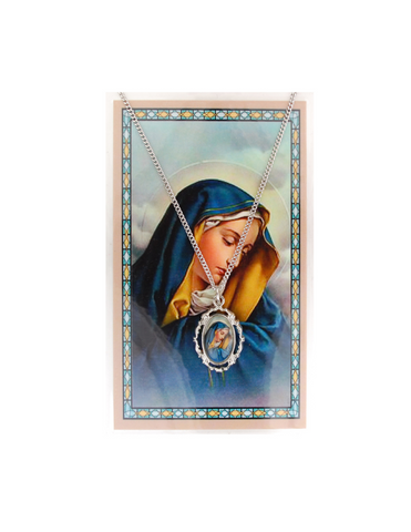 "Our Lady of Sorrows - Pendant with 18"" Chain and Laminated Holy Card Set"
