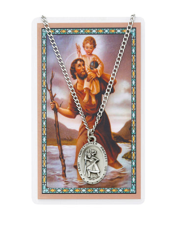 "Laminated Holy Card Saint Christopher w/ 24"" Medal Silver-Tone Pewter Chain"