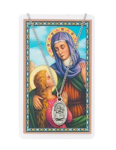 "Laminated Holy Card St. Anne with Medal and 18"" Silver-Tone Pewter Chain"