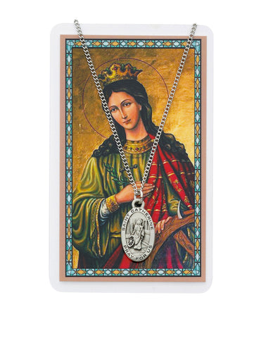 "Laminated Holy Card St. Catherine with 18"" Medal Silver-Tone Pewter Chain"
