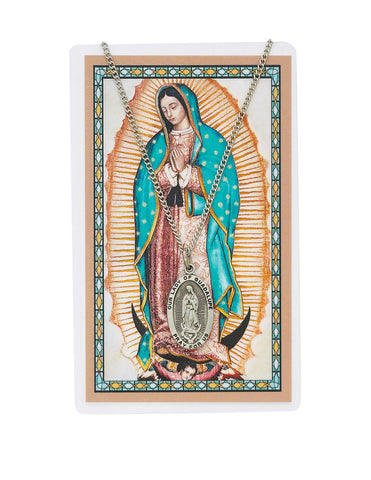 "Laminated Holy Card Our Lady of Guadalupe in Spanish Text w/ 18"" Medal Silver-Tone Pewter"