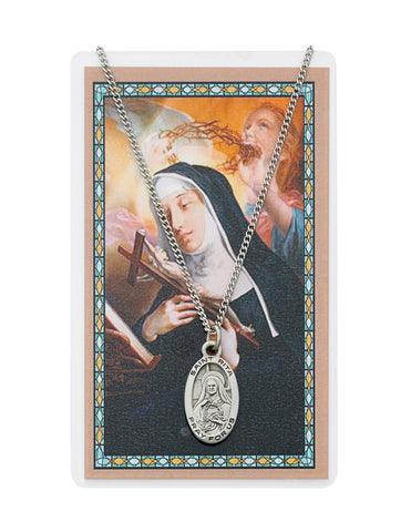 "Laminated Holy Card St. Rita with Medal and 18"" Silver-Tone Pewter Chain"