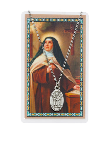 "Laminated Holy Card Saint Teresa of Avila w/ 18"" Medal Silver-Tone Pewter Chain"