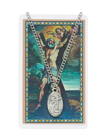 "Laminated Holy Card St. Andrew with Medal and 24"" Silver-Tone Pewter Chain"
