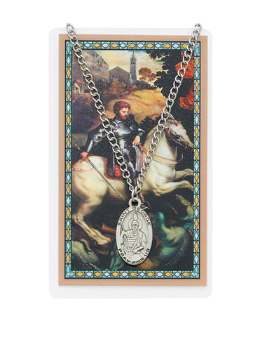 "Laminated Holy Card Saint George w/ 24"" Medal Silver-Tone Pewter Chain"