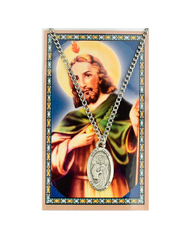 "Laminated Holy Card St. Jude and Medal with 24""  Silver-Tone Pewter Chain"