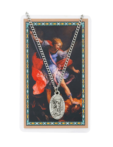 "Laminated Holy Card Saint Michael w/ 24"" Medal Silver-Tone Pewter Chain"
