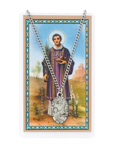 "Laminated Holy Card Saint Stephen and Pewter Medal w/ 24"" Silver-Tone Chain"