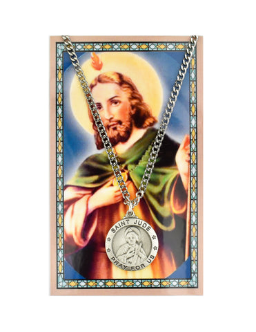 "Laminated Holy Card St. Jude and Pewter Medal with 24"" Silver-Tone Chain"