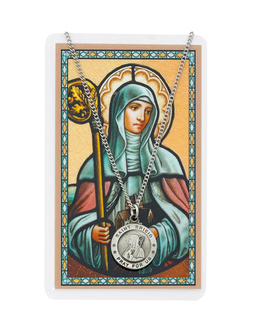 "Laminated Holy Card St. Brigid and Pewter Medal w/ 24"" Silver-Tone Chain"