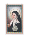 "St. Bernadette Prayer Card with medal and 18"" silver tone chain"
