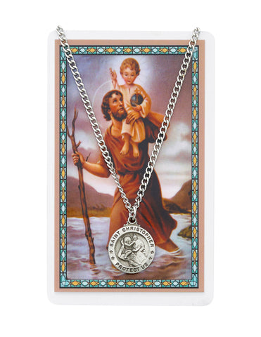 "Laminated Holy Card St. Christopher with Medal and 24"" Silver-Tone Pewter Chain"