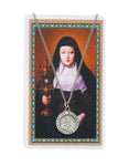 "Laminated Holy Card St. Clare and Pewter Medal with 18"" Silver-Tone Chain"
