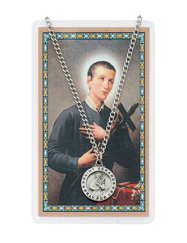 "Laminated Holy Card St. Gerard and Pewter Medal with 24"" Silver-Tone Chain"