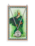 "Laminated Holy Card St. Patrick with Medal and 24"" Silver-Tone Pewter Chain"