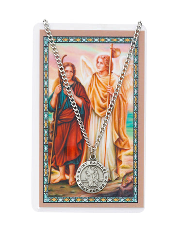 "Laminated Holy Card St. Raphael with Medal and 24"" Silver-Tone Pewter Chain"
