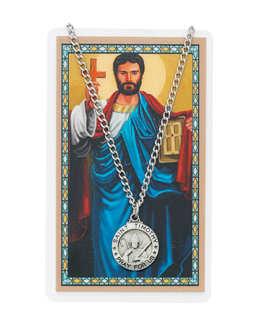 "Laminated Holy Card St. Timothy with Medal and 24"" Silver-Tone Pewter Chain"