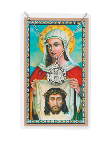 "Laminated Holy Card St. Veronica with Medal and 18"" Silver-Tone Pewter Chain"