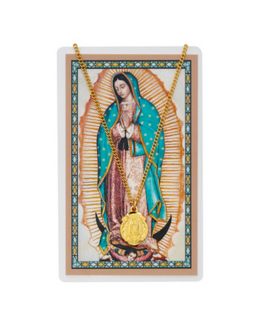 "Our Lady of Guadalupe Medal with 18"" Chain and Laminated Spanish Holy Card Set"