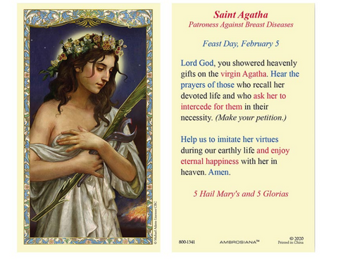 Laminated Holy Card - St. Agatha - 25 Pcs. Per Package