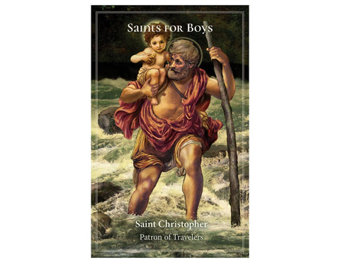 "5"" H Pocket Prayer Folder - Saints for Boys St. Christopher"