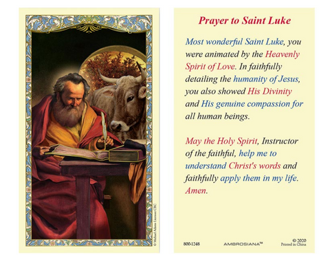 Laminated Holy Card - St. Luke - 25 Pcs. Per Package