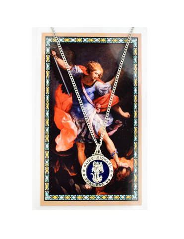 "St. Michael - Medal with18"" Chain and Laminated Holy Card Set"