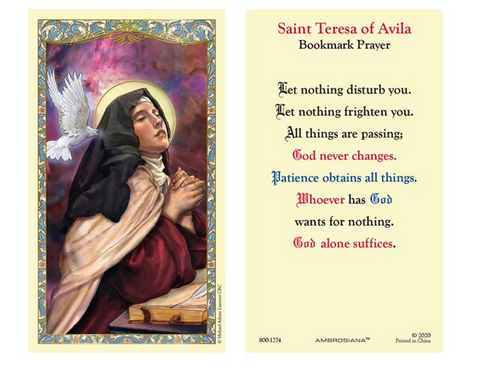 Laminated Holy Card - St. Teresa of Avila - 25 Pcs. Per Package
