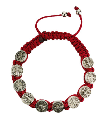 St. Benedict Bracelet Adjusted Red Corded and Carded