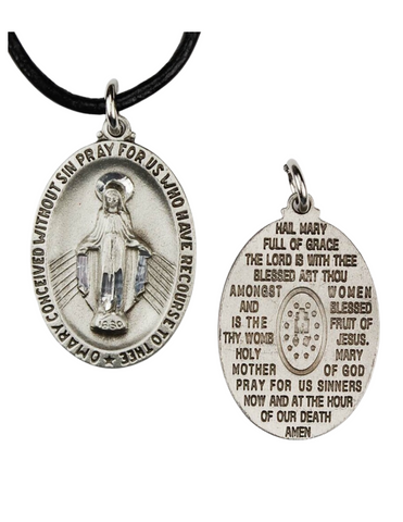 Pewter English Hail Mary Medal with Cord
