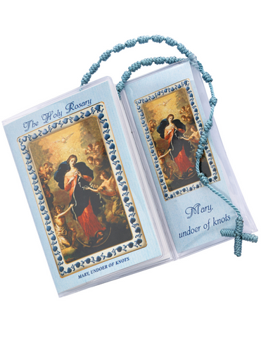 Mary Blue Knotted Rosary Booklet